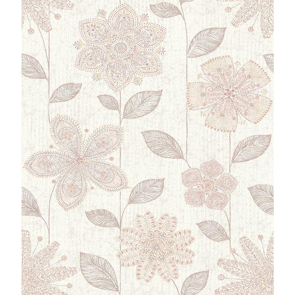 A-Street Maisie Pink Batik Flower Wallpaper Sample 1014-001815SAM