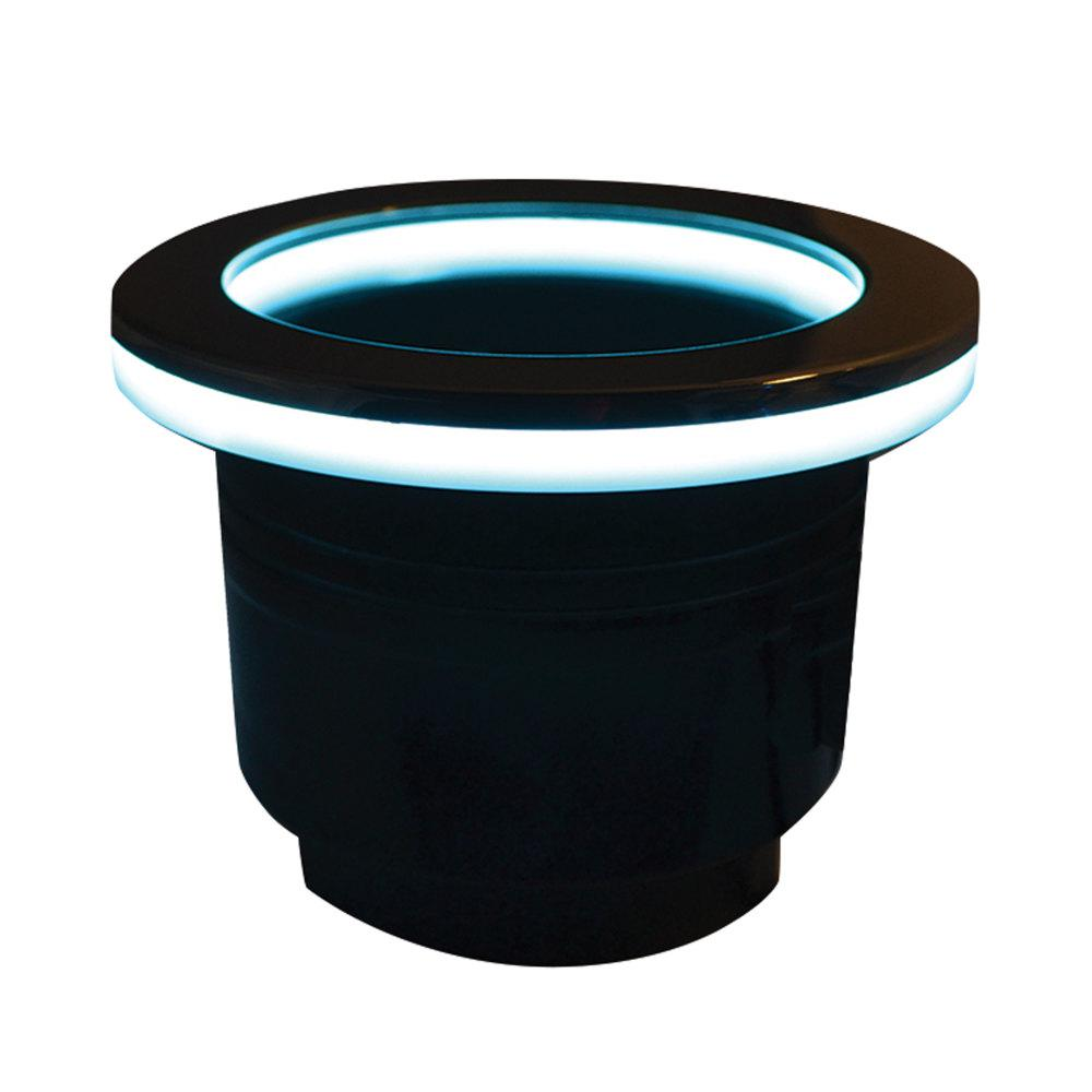 Black Plastic LED Beverage Holder CDI Electronics K11-0101 Led Beverage Holder is made from high quality marine-grade plastic for durability. Designed for use in marine environments. RGB LED black lighted designed offers a stylish addition to your boat accessories.