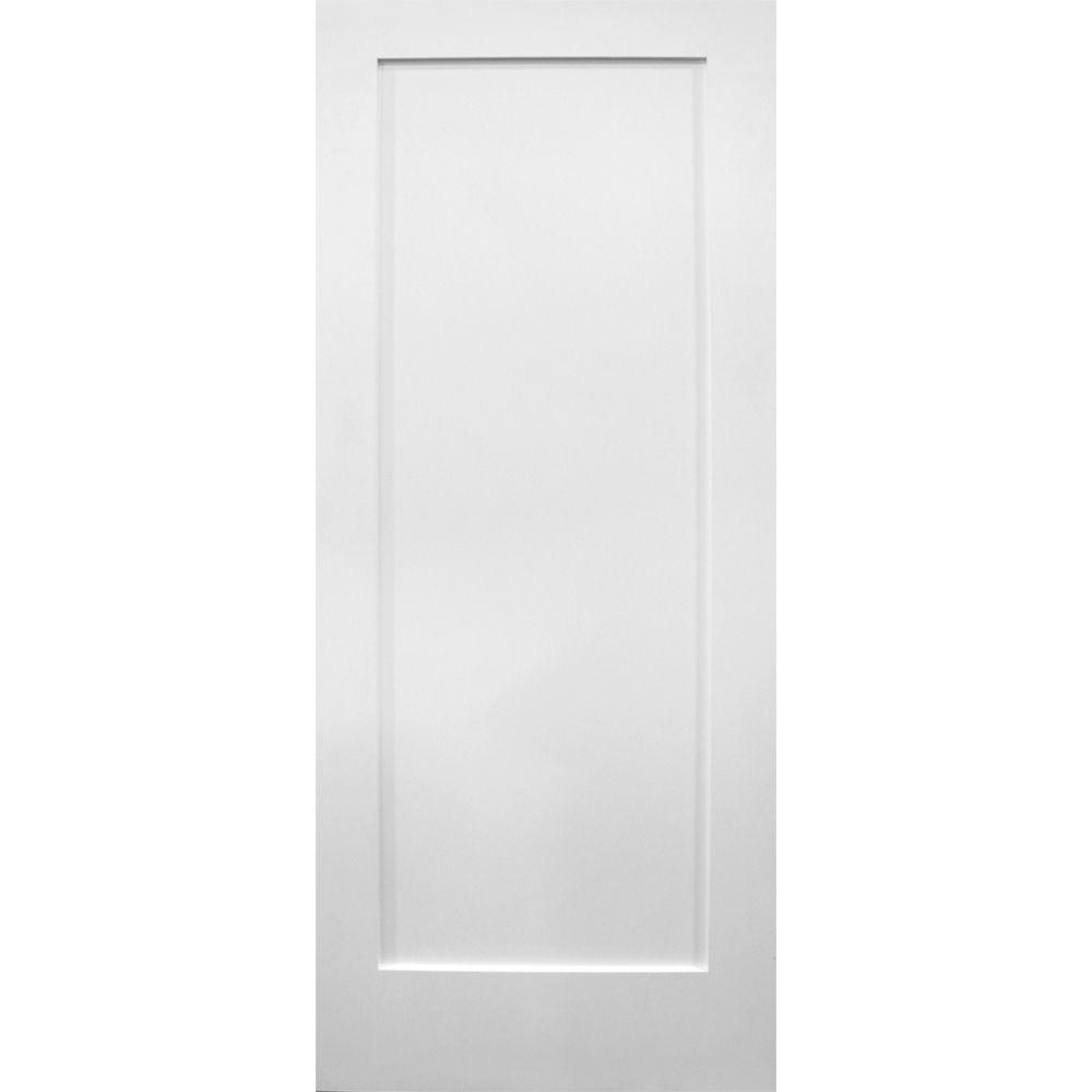 Builder's Choice 32 in. x 80 in. 1-Panel Flat Ovolo Primed Wood Pine White Single Prehung Interior Door