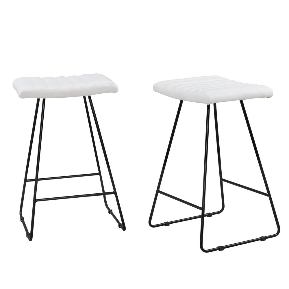 Enzo 25 in. White Counter Stool (Set of 2)