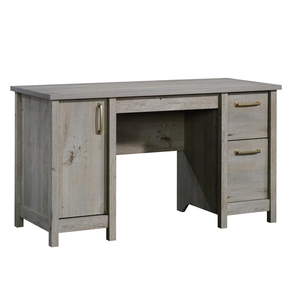 53 in. Rectangular Mystic Oak 2 Drawer Computer Desk with File Storage