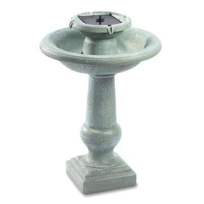 Chatsworth Weathered Stone 2-Tier Solar on Demand Fountain