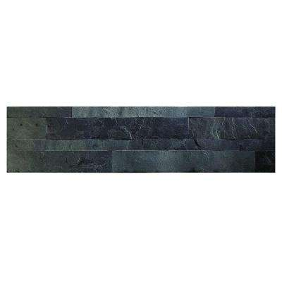 24 in. x 6 in. Peel and Stick Stone Decorative Backsplash in Charcoal Slate