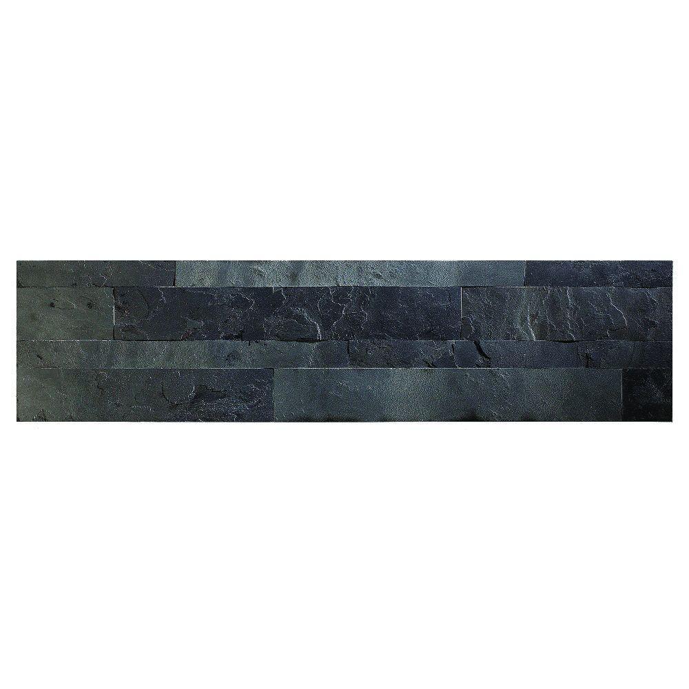 24 in. x 6 in. Peel and Stick Stone Decorative Backsplash in Charcoal Slate