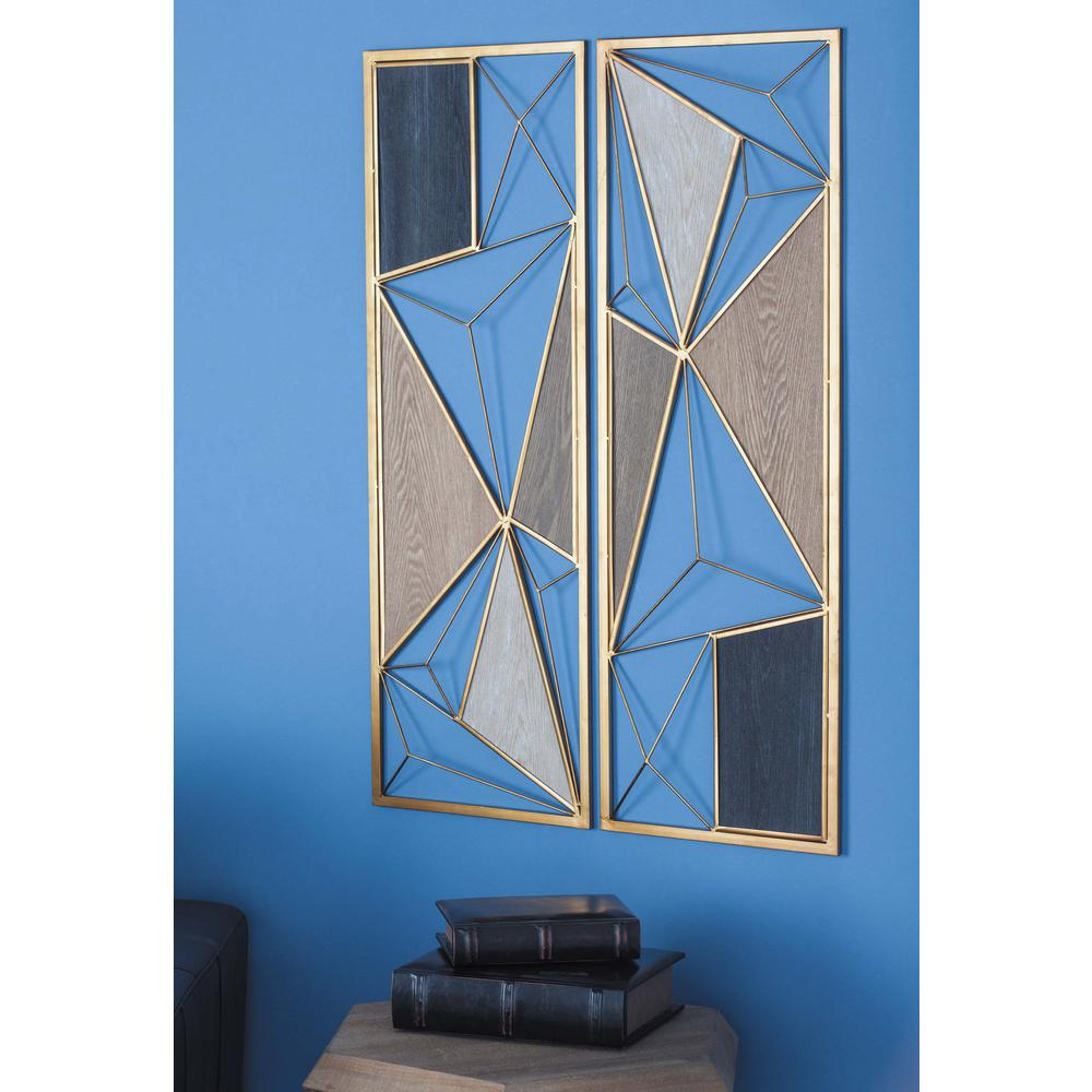 35 in. x 12 in. W Assorted Modern Geometric Metal Wall