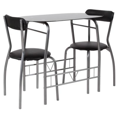 3-Piece Black Glass Dining Table and Chair Sets