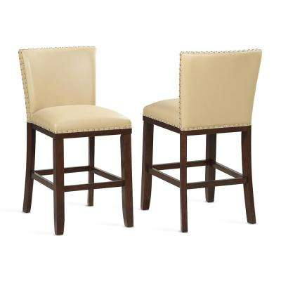 Tiffany 24 in. Contemporary Toffee Counter Stool (Set of 2)
