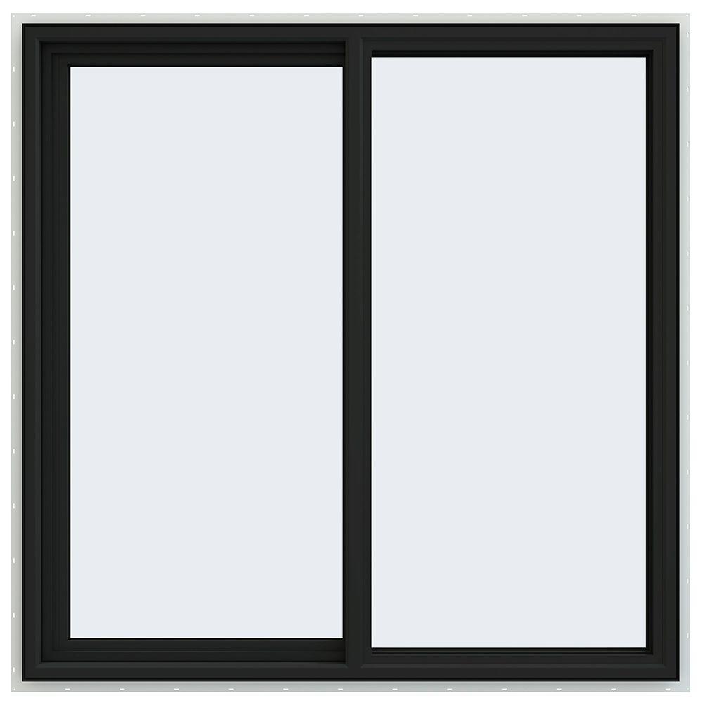 Jeld Wen 48 In X 48 In V 4500 Series Bronze Finishield Vinyl Left Handed Sliding Window With Fiberglass Mesh Screen Thdjw140400175 The Home Depot