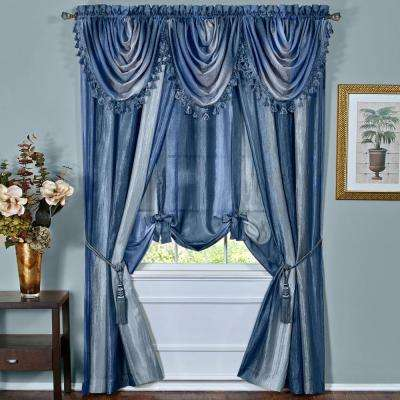 Semi-Opaque Blue Ombre Curtain Panel - 50 in. W x 63 in. L