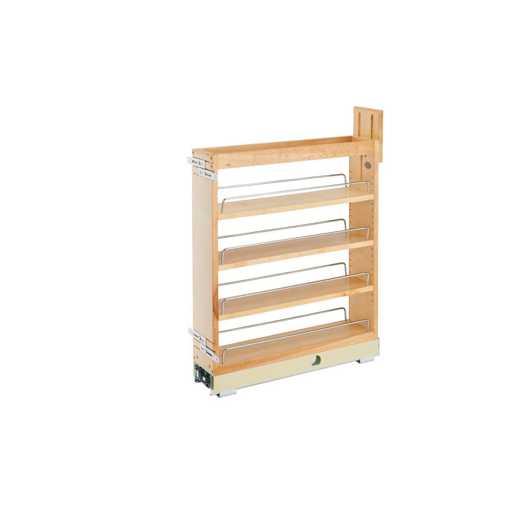 Rev-A-Shelf 25.5 in. H x 5.25 in. W x 21.75 in. D Pull-Out Wood Base Cabinet Organizer with Ball-Bearing Soft-Close Slides
