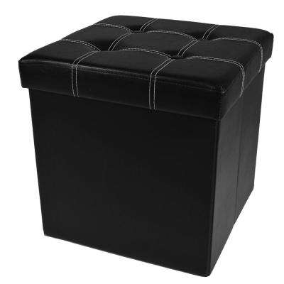 15 in. x 15 in. x 15 in. Black Faux Leather Cube Collapsible Tufted Storage Ottoman