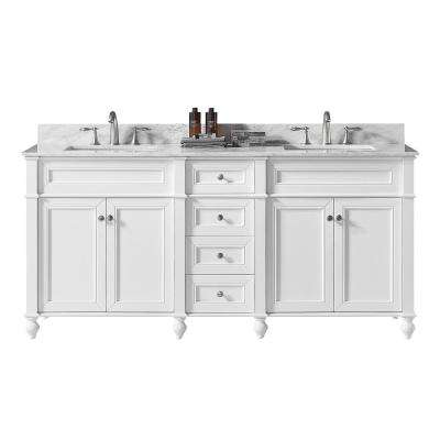 Margaux 72 in. W x 22 in. D x 34.2 in. H Bath Vanity in White with Carrara Marble Vanity Top in White with White Basin