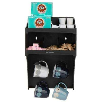 Wall Mount Coffee Condiment Organizer with 4-Hooks