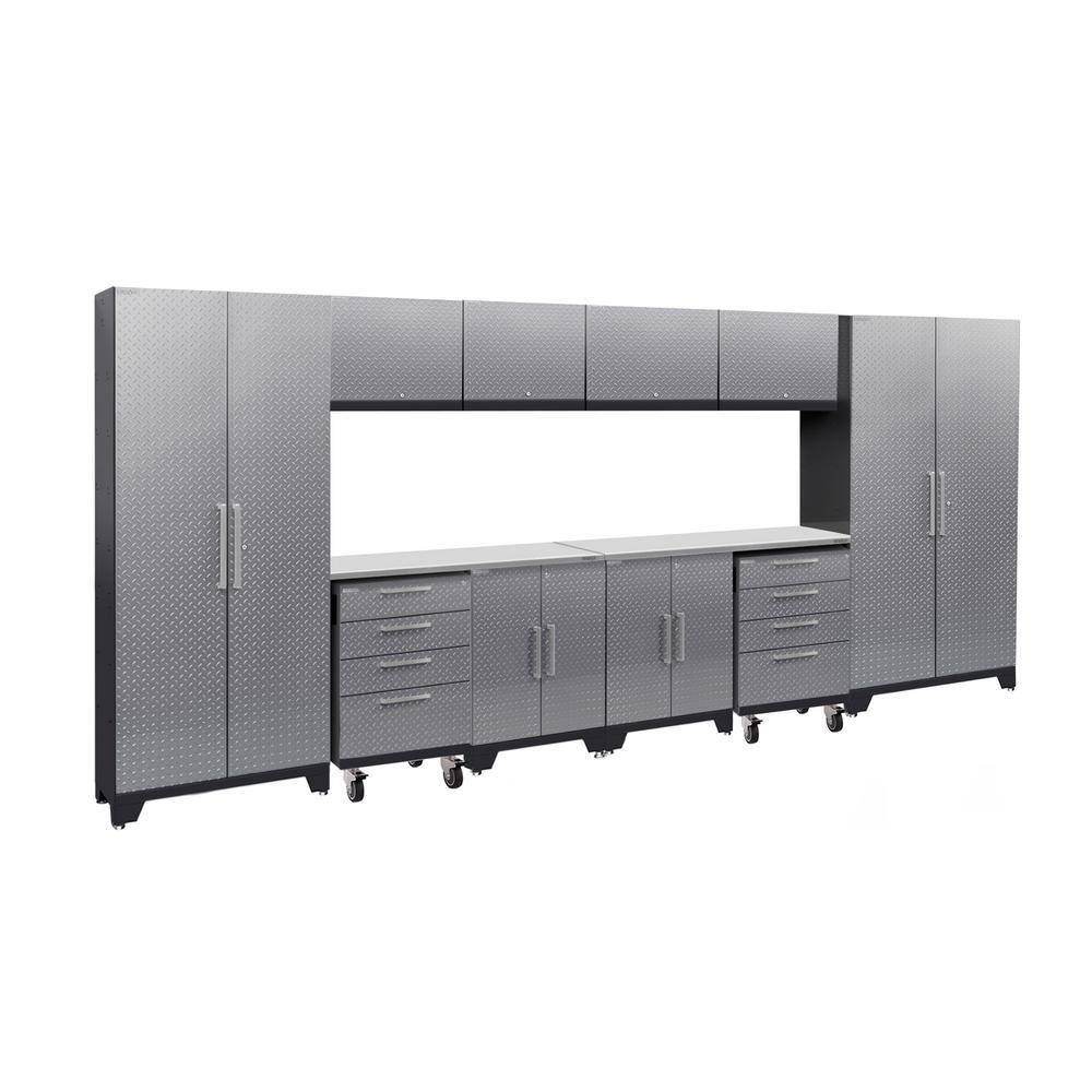 Performance 2.0 Diamond Plate 77.25 in. H x 156 in. W x 18 in. D Steel Garage Cabinet Set in Silver (12-Piece)