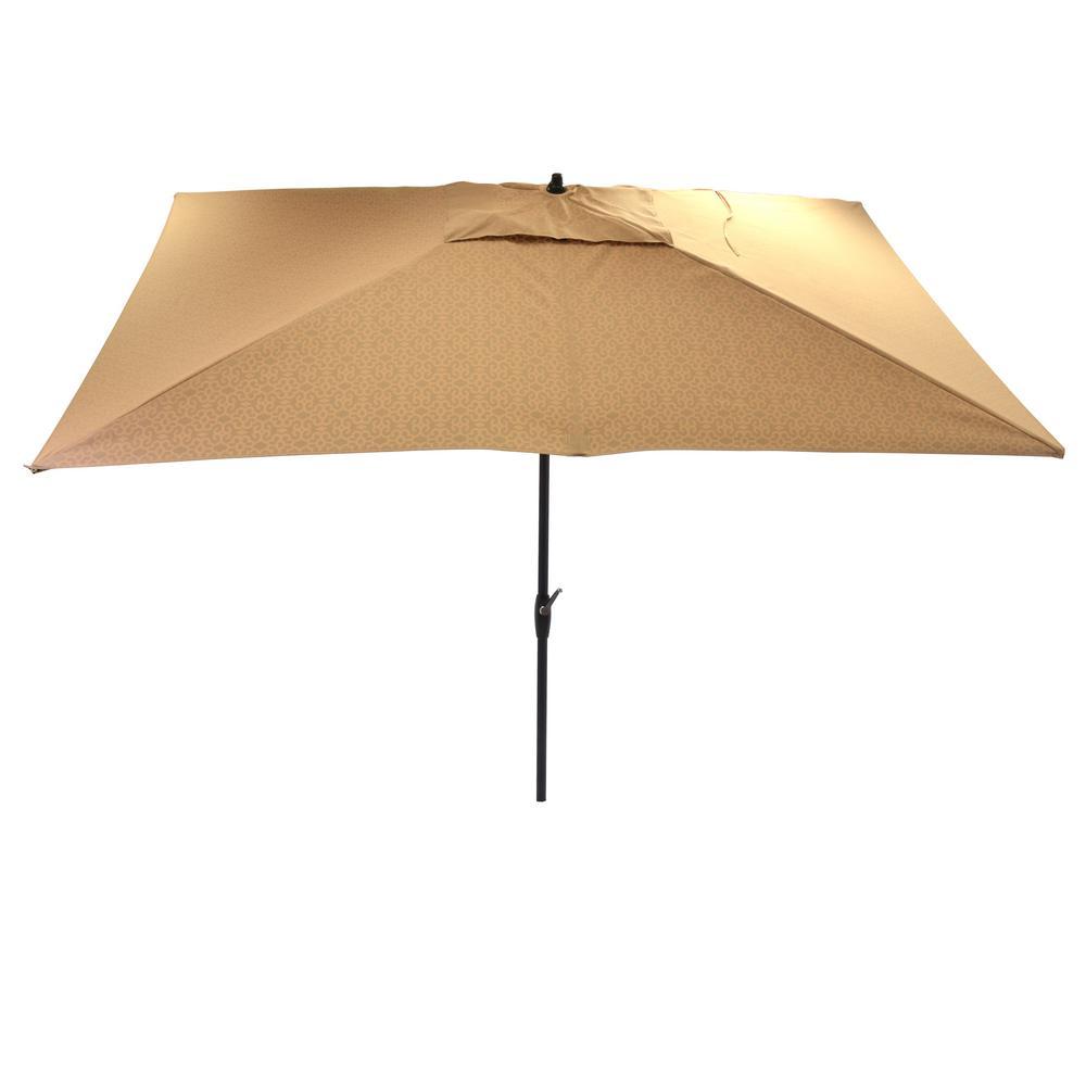 10 ft. x 6 ft. Aluminum Market Patio Umbrella in Black Trellis with Push-Button Tilt