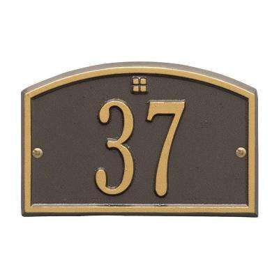 Cape Charles Rectangular Bronze/Gold Petite Wall 1-Line Address Plaque
