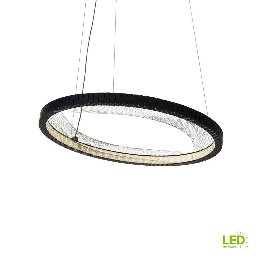 ad2d625d97db LBL Lighting Interlace 18 in. Rubberized Black LED Chandelier Shade ...