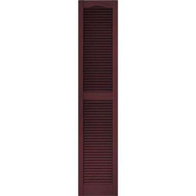 15 in. x 72 in. Louvered Vinyl Exterior Shutters Pair in #167 Bordeaux