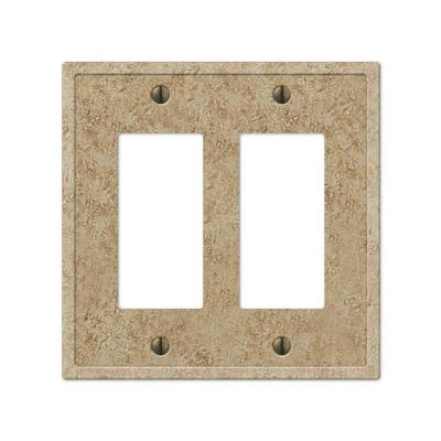 Talia 2 Gang Rocker Resin Wall Plate - Noce