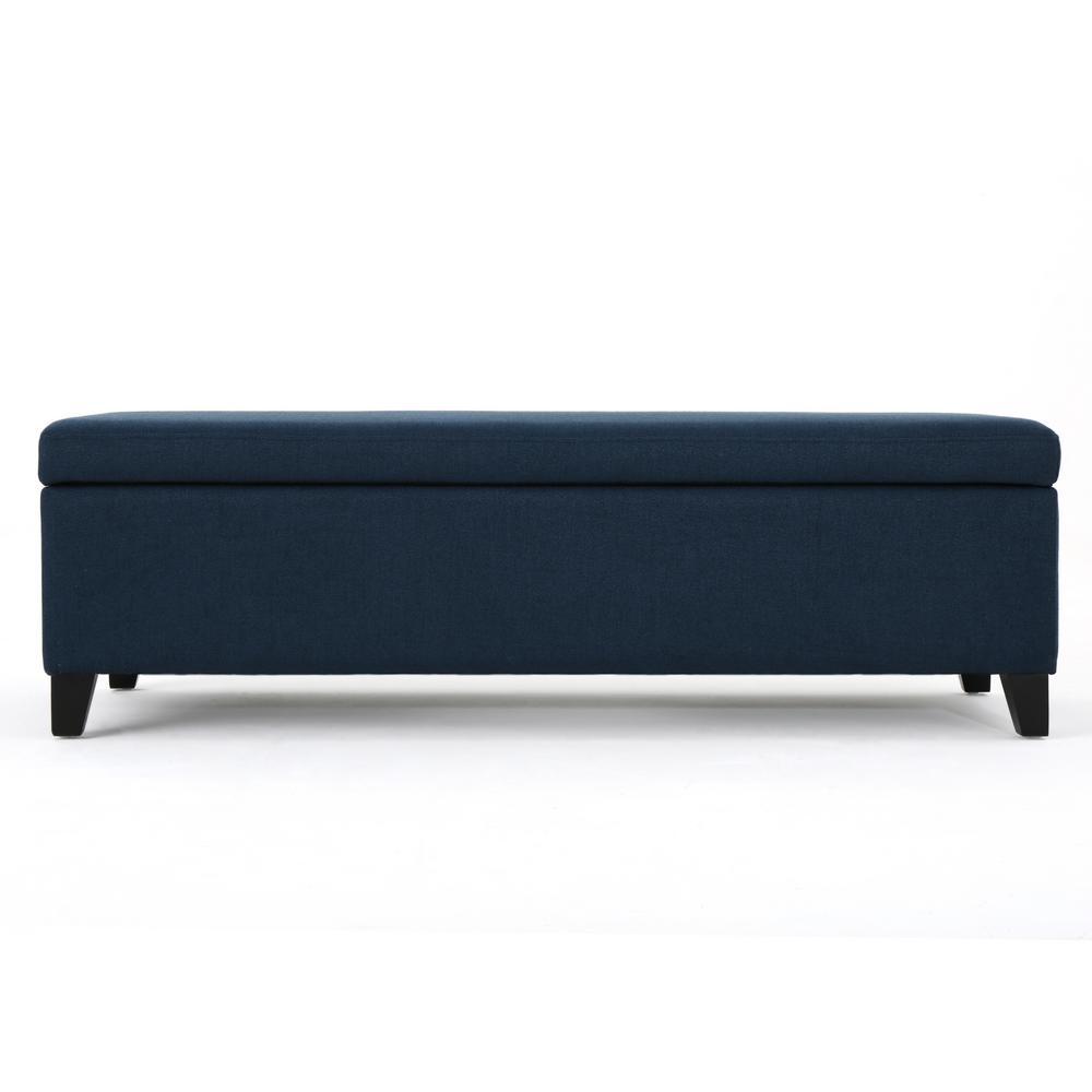 York Navy Blue Fabric Storage Bench
