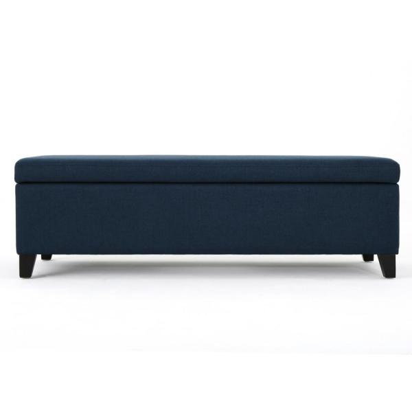 Noble House York Navy Blue Fabric Storage Bench-12439