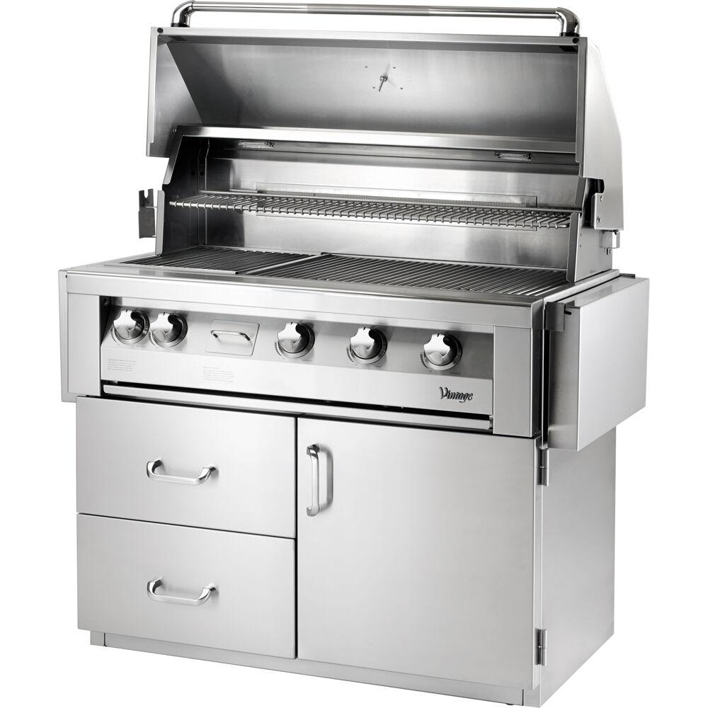 42 in. 4-Burner Natural Gas Grill in Stainless with Sear Zone and Deluxe Cart