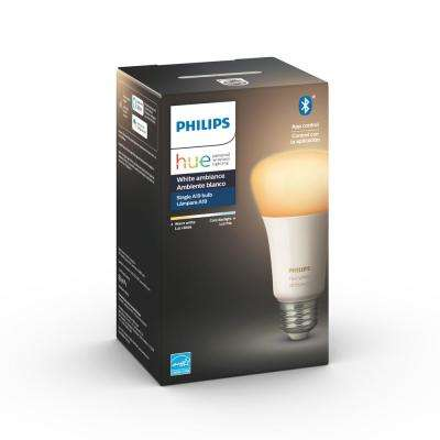 White Ambiance A19 LED 60W Equivalent Dimmable Smart Wireless Light Bulb with Bluetooth