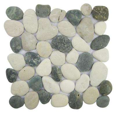 Classic Pebble Tile Grey/White/Black 11.5 in. x 11.5 in. x 11.7mm Natural Pebble Mosaic Tile (10.098 sq. ft. / case)