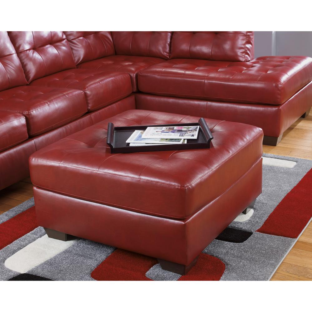Flash furniture signature design by ashley alliston salsa durablend oversized red ottoman 2399ottred the home depot