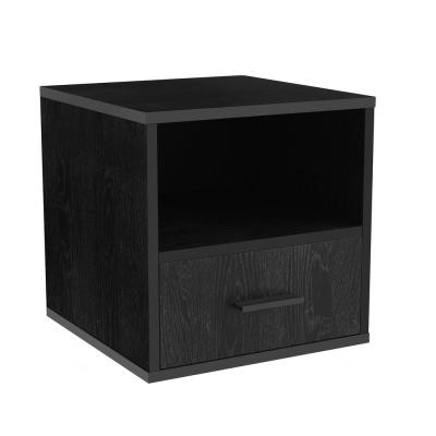 Black Modular Cube End Table with Drawer