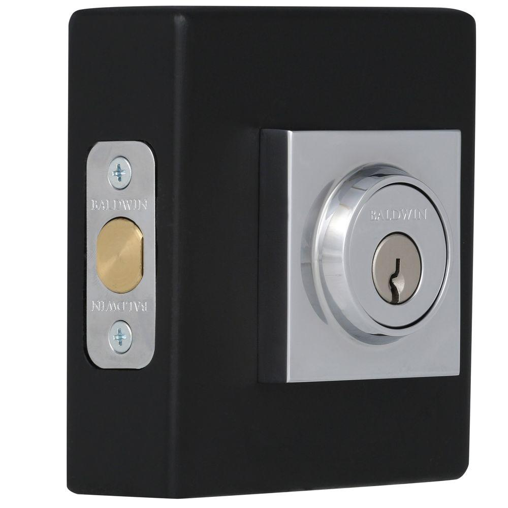 Baldwin Reserve Contemporary Single Cylinder Polished Chrome Square Deadbolt