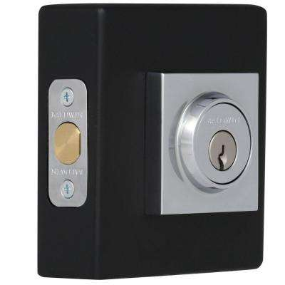 Reserve Contemporary Single Cylinder Polished Chrome Square Deadbolt