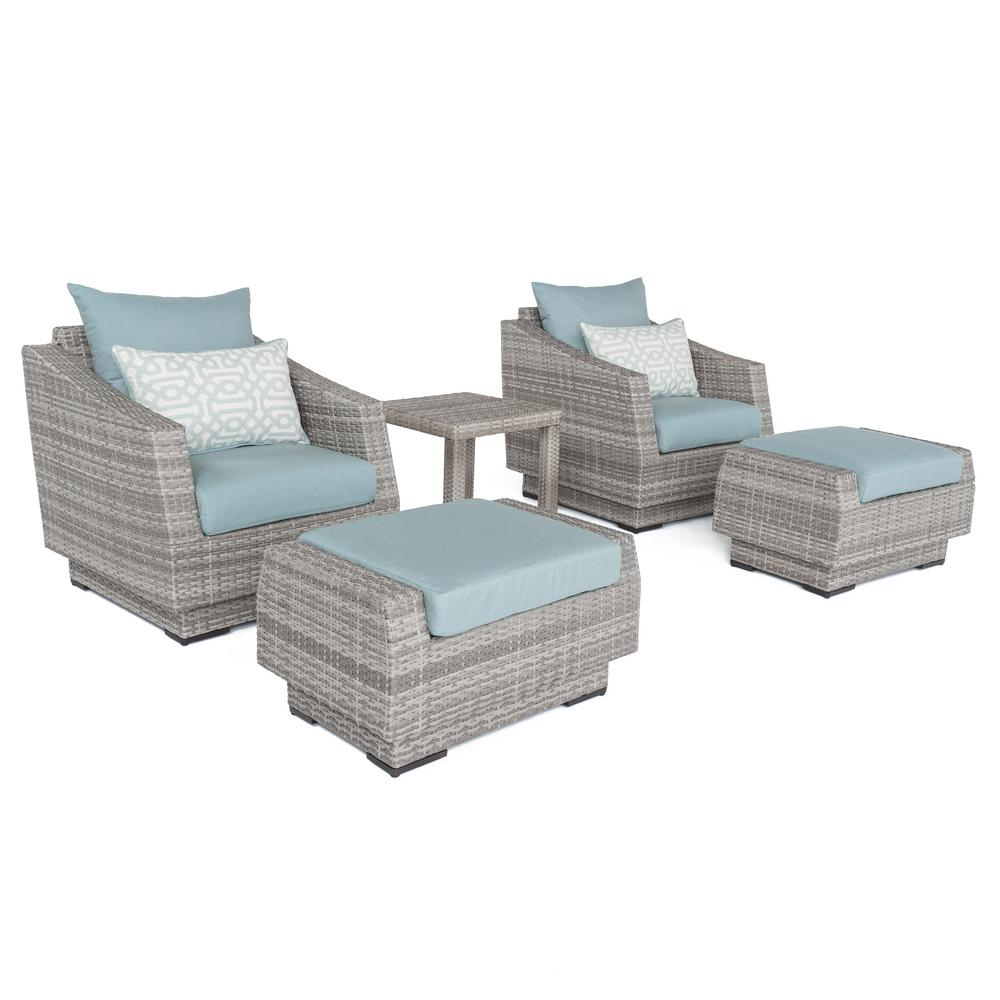 Cannes 5 Piece All Weather Wicker Patio Club Chair And Ottoman Conversation  Set