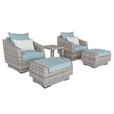 Cannes 5-Piece All-Weather Wicker Patio Club Chair and Ottoman Conversation Set with Spa Blue Cushions