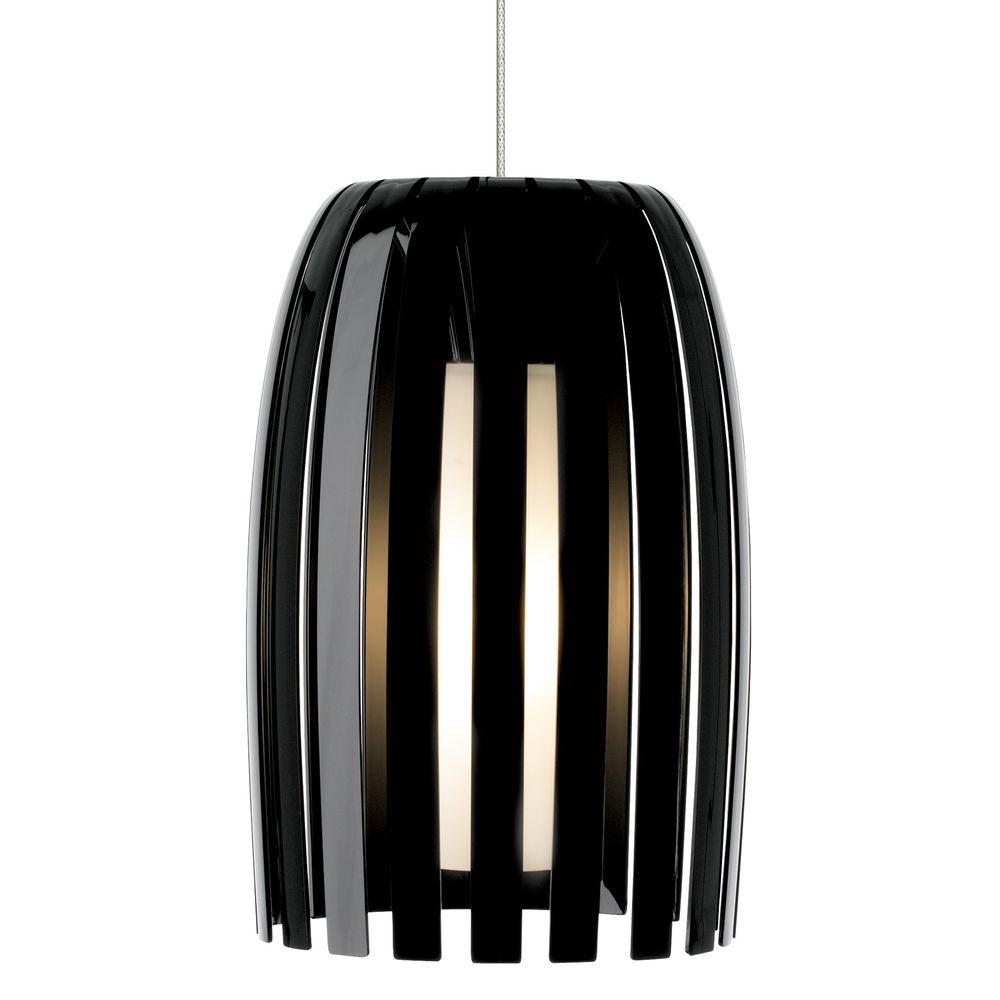 LBL Lighting Mini-Olivia 1-Light Satin Nickel Xenon Mini Pendant with Black Shade