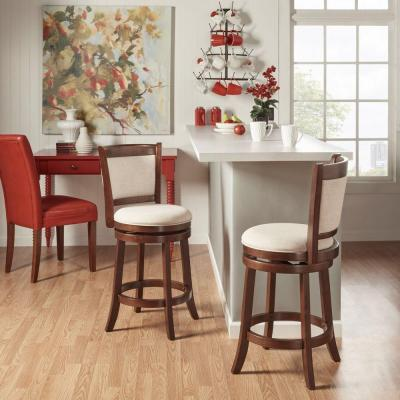 Ashbury 24 in. Beige Swivel Cushioned Bar Stool