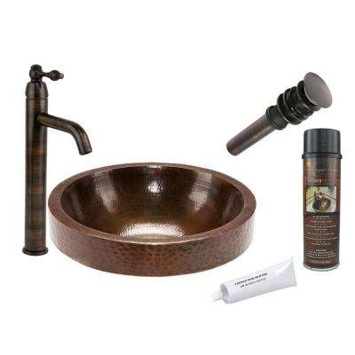 All-in-One Round Skirted Vessel Hammered Copper Bathroom Sink in Oil Rubbed Bronze