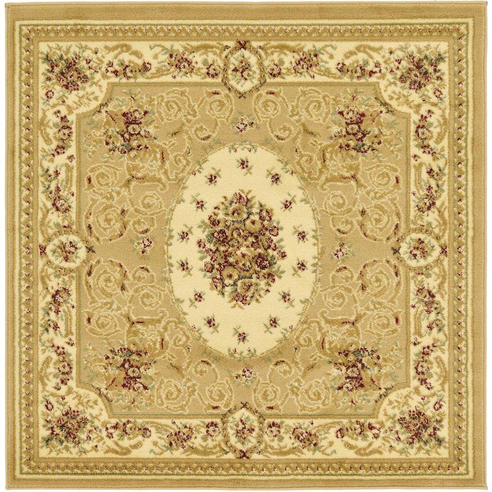 Versailles Phillipe Tan 4' 0 x 4' 0 Square Rug