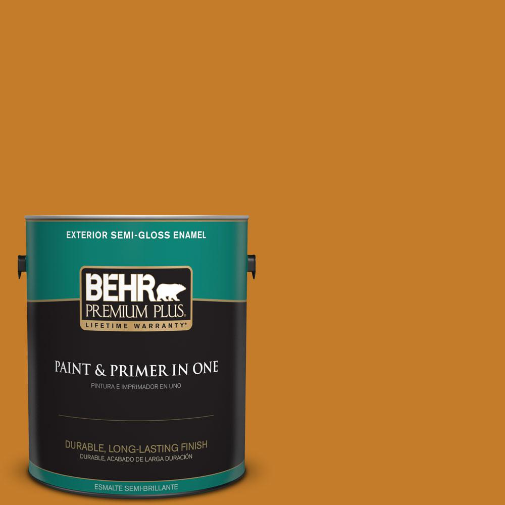 1-gal. #S-H-290 Exotic Honey Semi-Gloss Enamel Exterior Paint
