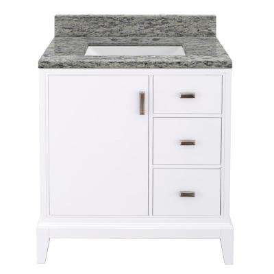 Shaelyn 31 in. W x 22 in. D Bath Vanity in White RH Drawers with Granite Vanity Top in Santa Cecilia with White Sink