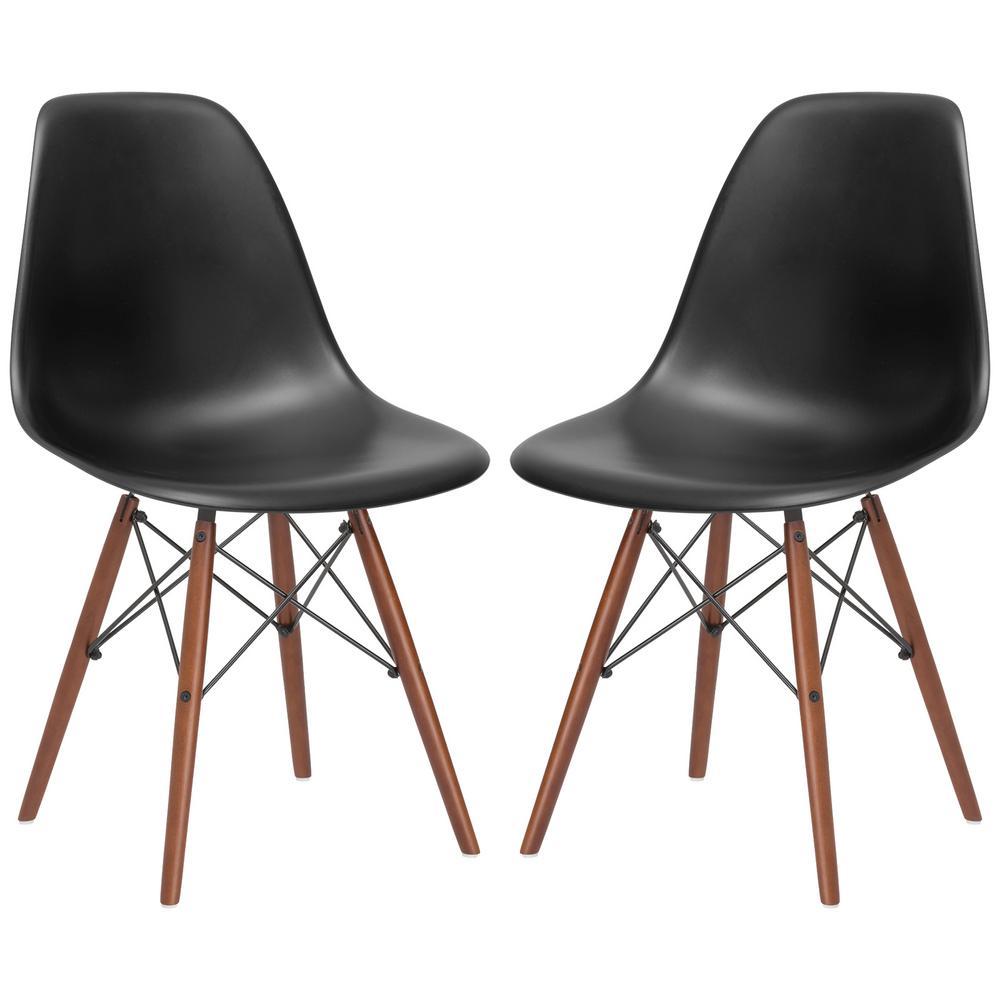 Vortex Black Side Chair Walnut Legs (Set of 2)