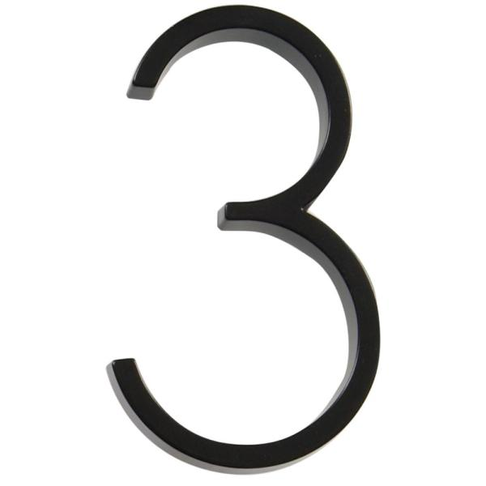 5 in. Elevated Black Number 3