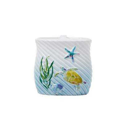 Watercolor Ocean Free Standing Toothbrush Holder in Multi
