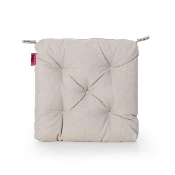 Noble House North Shore 16 In X 3 15 In Light Beige Square Tufted Outdoor Chair Cushion 68646 The Home Depot