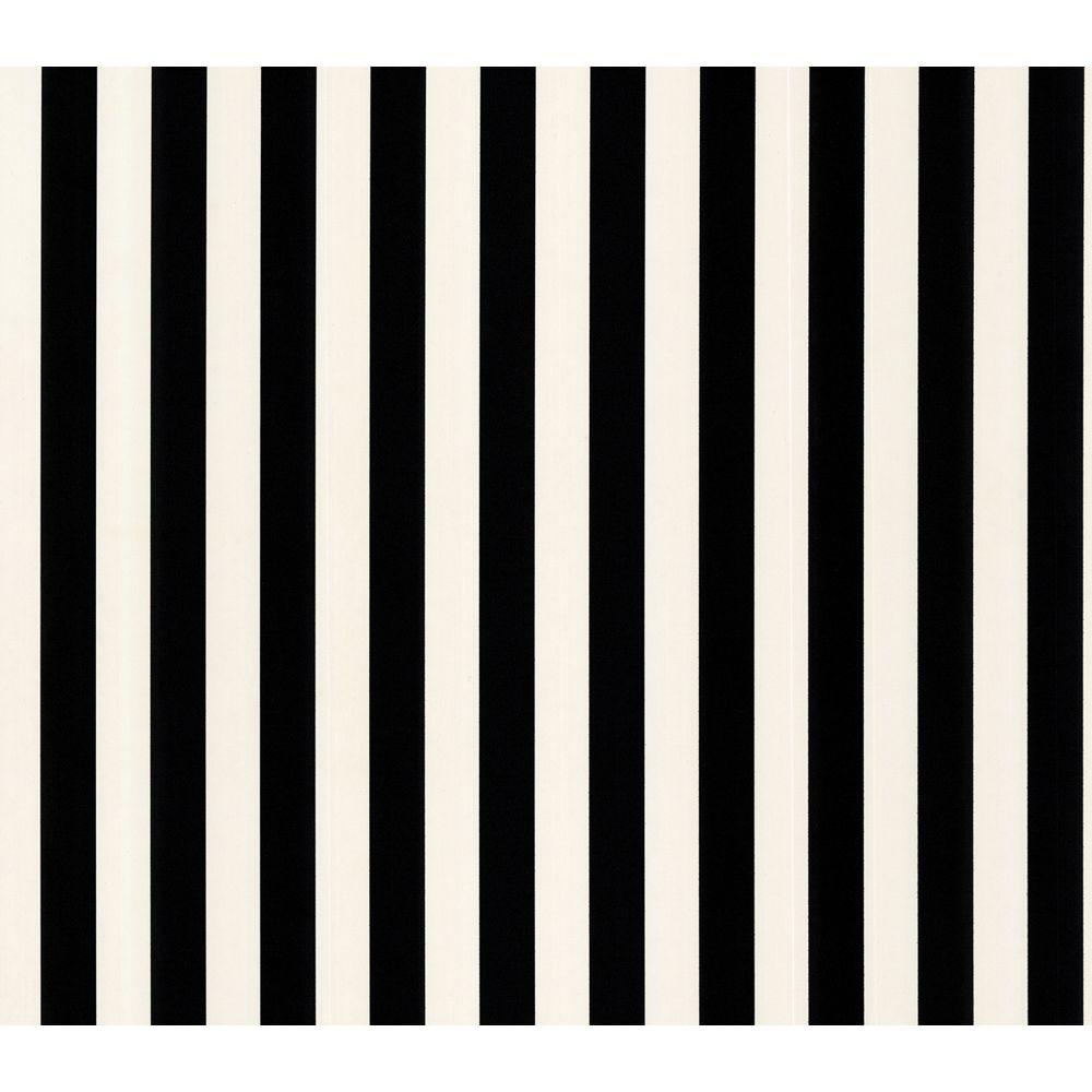 The Wallpaper Company 56 sq. ft. Black and White Stripe Wallpaper