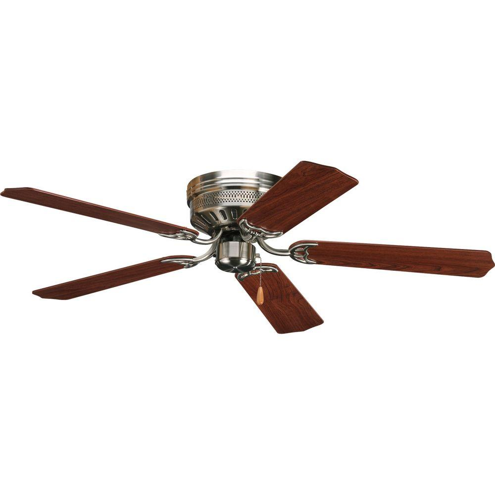 Hugger Ceiling Fans Without Light: Progress Lighting AirPro Hugger 52 In. Indoor Brushed