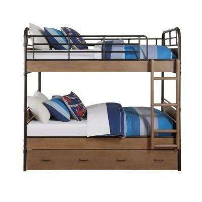 Adams Antique Oak and Gunmetal Twin Over Twin Bunk Bed