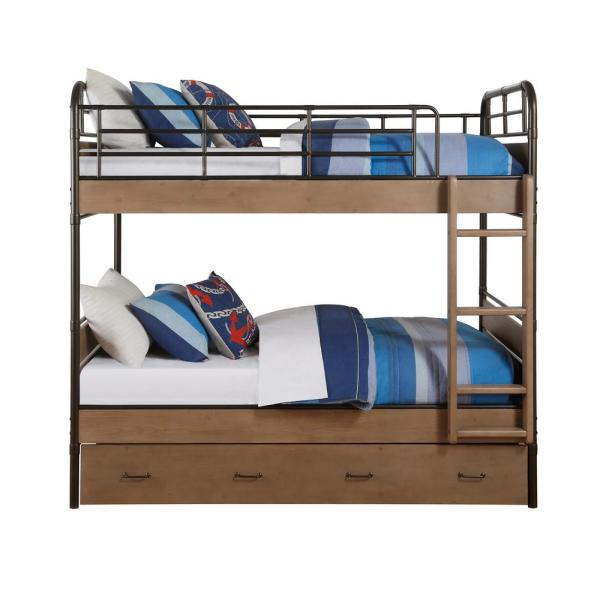 Acme Furniture Adams Antique Oak and Gunmetal Twin Over Twin Bunk