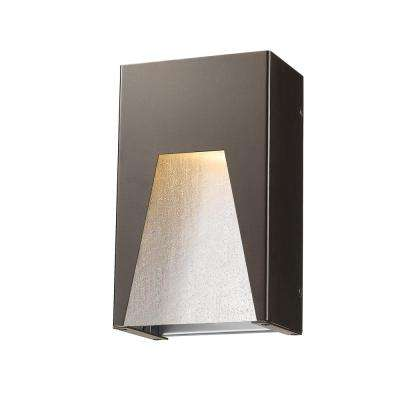 Farran 75-Watt Equivalent Outdoor Bronze Silver Integrated LED Wall Mount Sconce with Clear Seedy Glass Shade