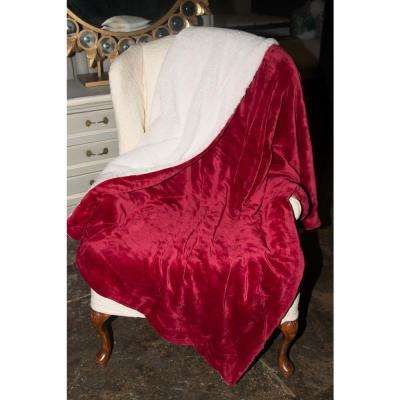 60 in. x 70 in. Luxurious Micro-Mink Day Bed Throw Reverses to Sherpa Throw Blanket in Gift Bag in Burgundy (Red Wine)